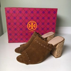 NWB Tory Burch Suede Huntington Mule with Fringe